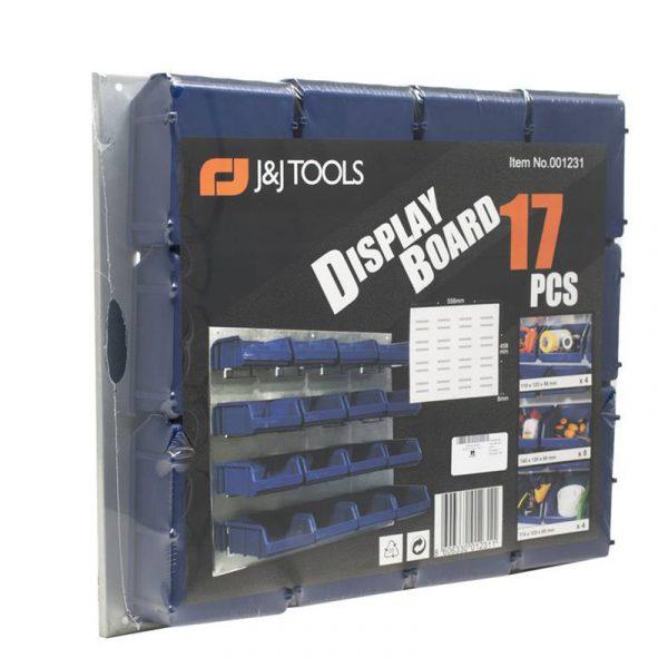 Opphengbar sorteringshylle. Praktisk i garasjen eller på hobbyrommet. Sett med oppbevaringsbakker. 16 bakker.