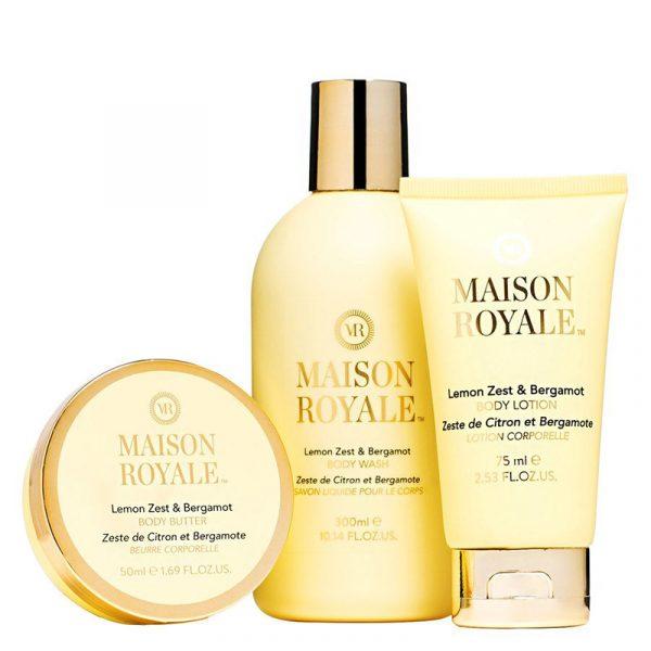 Gavesett Maison Royale. Body lotion 75ml - body wash 300ml- body butter 50ml fra Elle.