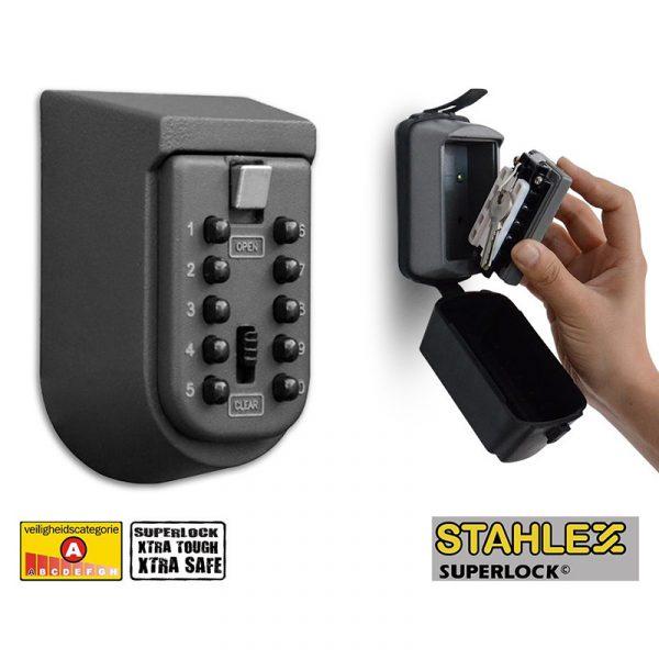Nøkkelboks med kodelås. Stahlex superlock for nøkler, med deksel.