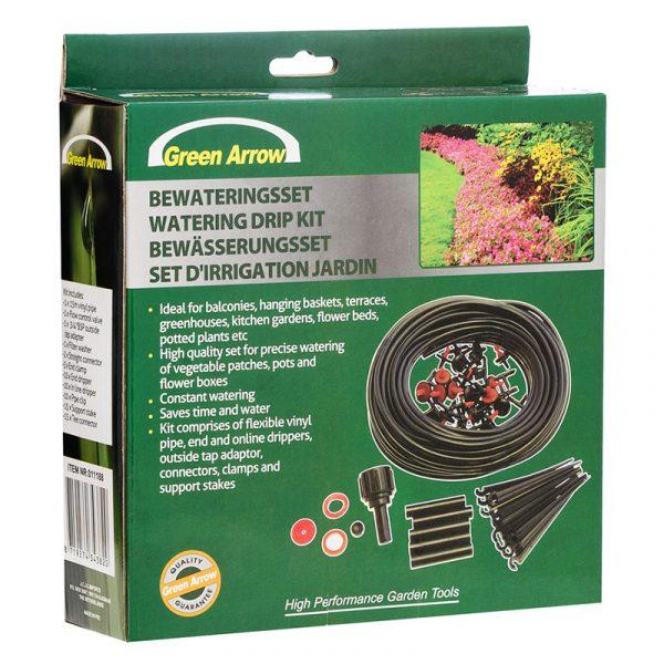 Dryppslange vanningssystem - 15 m. Vanning av blomsterbed, kjøkkenhage. 71 deler.