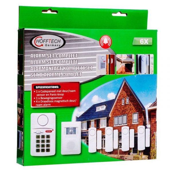 Innbruddsalarm til hjemmet, Trådløs alarm set med sensorer. Alarmsentral, alarmsystem.