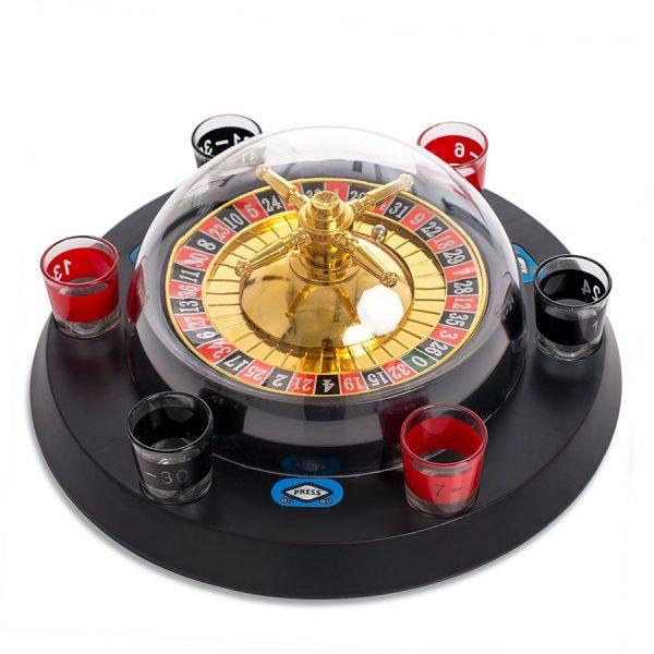 Automatisk roulette med 6 shotteglass. Drikkespill, drikkelek.