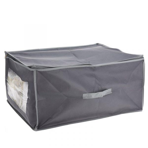 Sammenleggbar oppbevaringskasse med håndtak og vindu. Garderobe e.l.