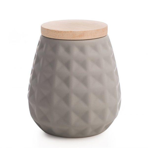 Krukke med trelokk i keramikk.
