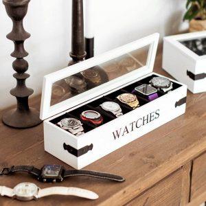 Klokkeboks - ta vare på klokkene dine. Organiser klokker, fin oppbevaring.