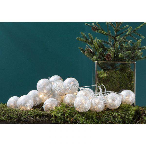 Lyslenke med 20 lysballer, sølv LED