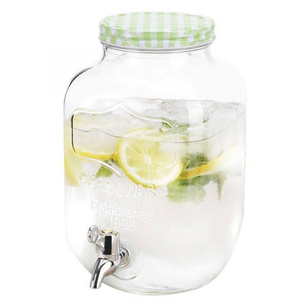 Glassdispenser på 4 liter med tappekran. Forfriskninger til gjester i denne glass dispenseren. Drikkedispenser.