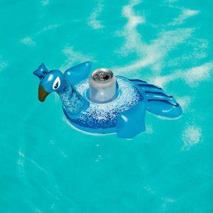 Oppblåsbar drikkeholder. Badeleke blåfugl. Morsom vann leke, oppblåsbar. Flyteleke, badedyr.