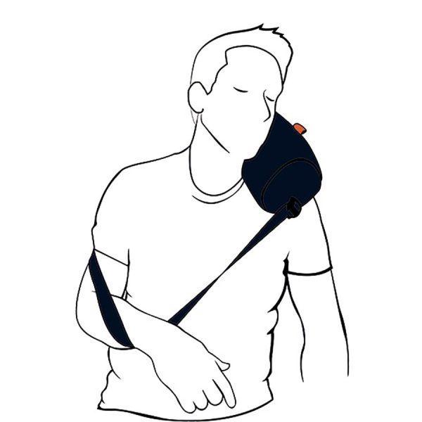 Reisepute. Sov godt ved reise. Pute med stropp og bag for oppbevaring.