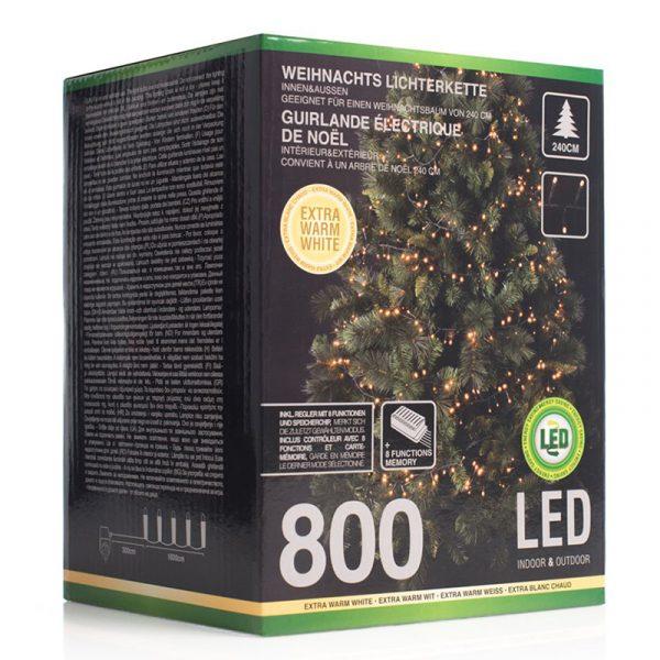Enorm lyskjede LED, ute & innendørs, 800 lys, Varm hvit. Med 8 funksjoners minne. Christmas light