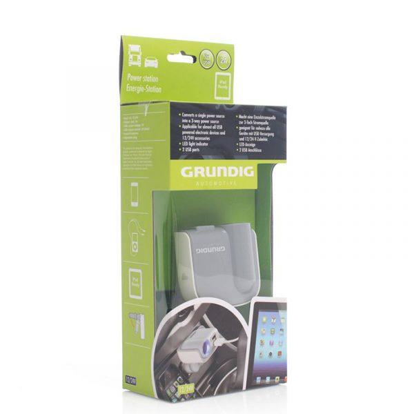 Forgrener til bil fra Grundig. Energistasjon. Konverter 1 enkelt strømkilde til en 3 veis strømkilde. 2 USB porter. Kjekk å ha i bilen.