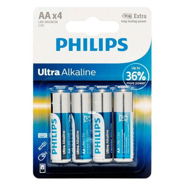 Batteri LR6/AA ultra alkaline fra Philips. 1,5V
