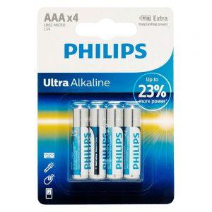 Batteri LR03/AAA ultra alkaline fra Philips. 1,5V