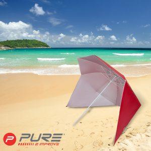 Strandparasoll med utfellbare sidepaneler og bag. Parasoll, solbeskyttelse, skygge på stranden.