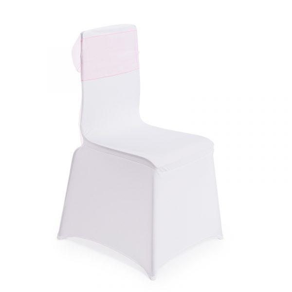 Stoltrekk 4 stk. universal. Hvit spandex stol trekk. Perfekt til festen. (NB. uten rosa sløyfe, kun trekket)