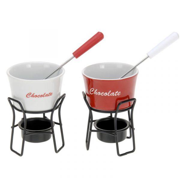 Sjokoladefonduesett i 12 deler. Sjokolade fondue.
