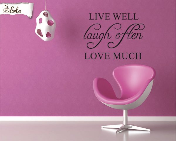 Veggord, Live well Laugh Often Love Much Klistremerke til vegg