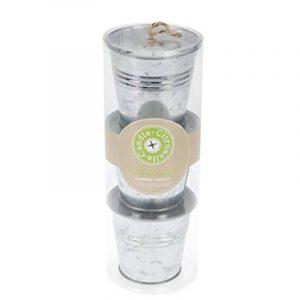 Lys med duft i zink potte, 3 stk.