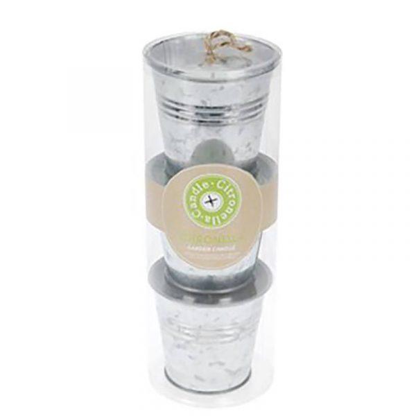 Lys med duft i zink potte, 3 stk