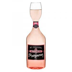 Proseccoglassflaske med artig tekst. Champagne glass flaske.