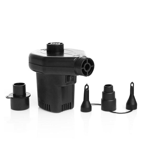 Elektrisk luftpumpe med variabelt strømuttak – liten og praktisk. Du kan velge, 230V eller 12V.