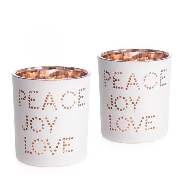 Lysestaker, lysholdere 2 stk. Peace, Joy, Love