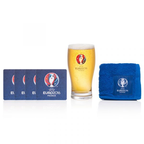Barsett UEFA Euro 2016. Ølglass, ølbrikker, håndkle.