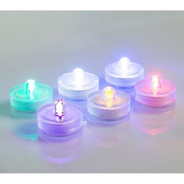 Telys med LED som tåler vann. Sekst te lys i farger. Batteri inkludert.