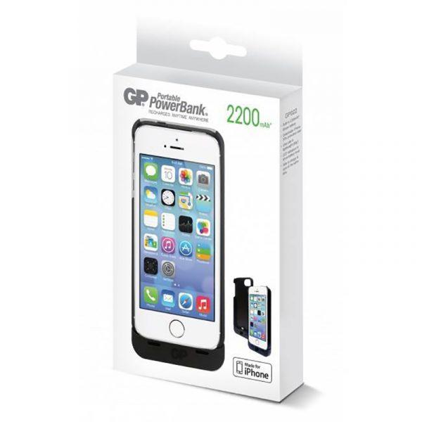 Batteribank til iPhone 5 og 5S. GP deksel. 2200 mAh.