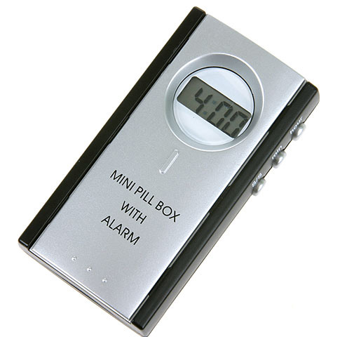 Batteridrevet pilleboks med alarm, 1