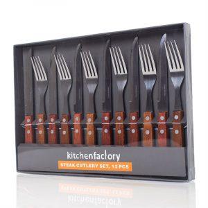 Biffsett på tolv deler. Seks kniver og seks gafler i god kvalitet.