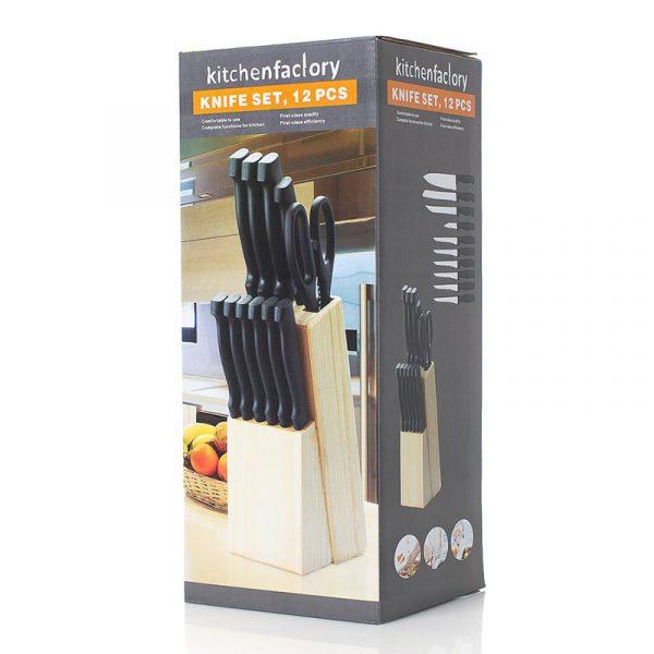 Knivblokk med kjøkkenkniver og saks.