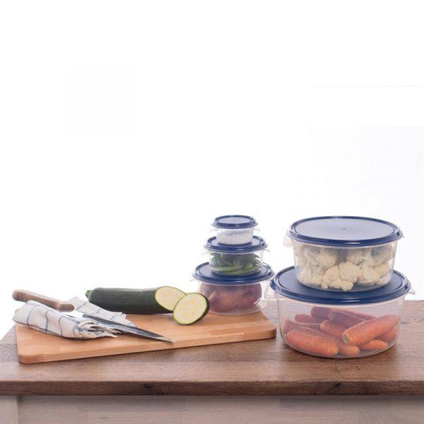 Oppbevaringssett i ti deler. Serveringsbolle eller oppbevaring av mat.