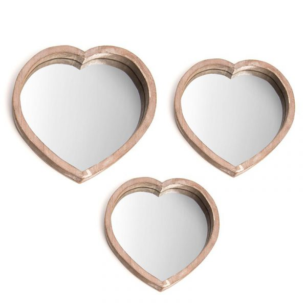 Sett av hjertefat, Mirror Speil fat hjerteformet