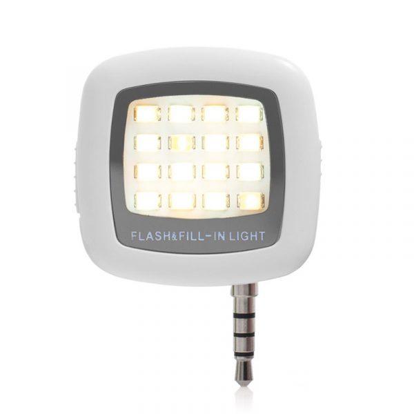 LED blits til smarttelefon. Selfieblits med usb lading.