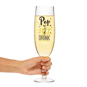 Champagneglass - GIGANTISK. Proseccoglass med artig tekst. Champagne glass.