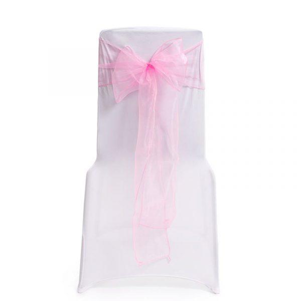 Sløyfebånd til feststoler, 4 stk. rosa. Konfirmasjon, bryllyp fest. Sløyfe bånd til stoler.