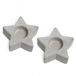 Cement stjerner, 2 stk. Betong stjerne til telys. Telysholder.