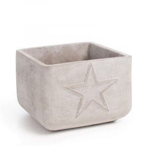 Cement star square pot. Blomsterpotte