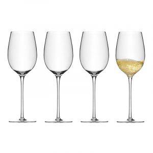 Hvitvinsglass i krystall, 4 stk. 0,43L. Glass til hvitvin.