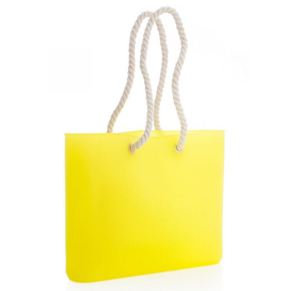 Strandbag i silikon. Gul vanntett bag med reim i tau. Signalgul.