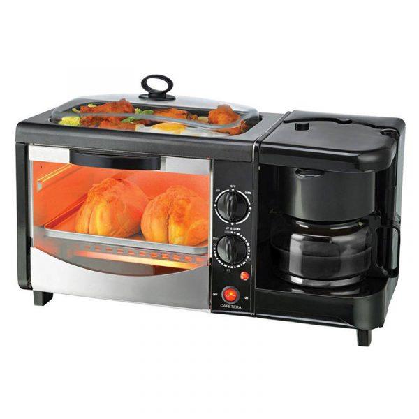 Frokostmaskin, 3 i 1. Til hybel, hytte, kontoret, campingvogn, båt. Plassbesparende frokost ovn, kaffetrakter.