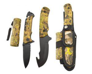 Overlevelsespakke med kniver og lommelykt